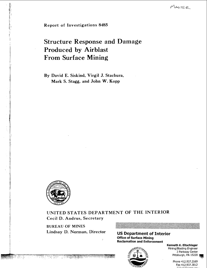 Thumbnail image of document cover: Structure Response and Damage Produced by Airblast From Surface Mining