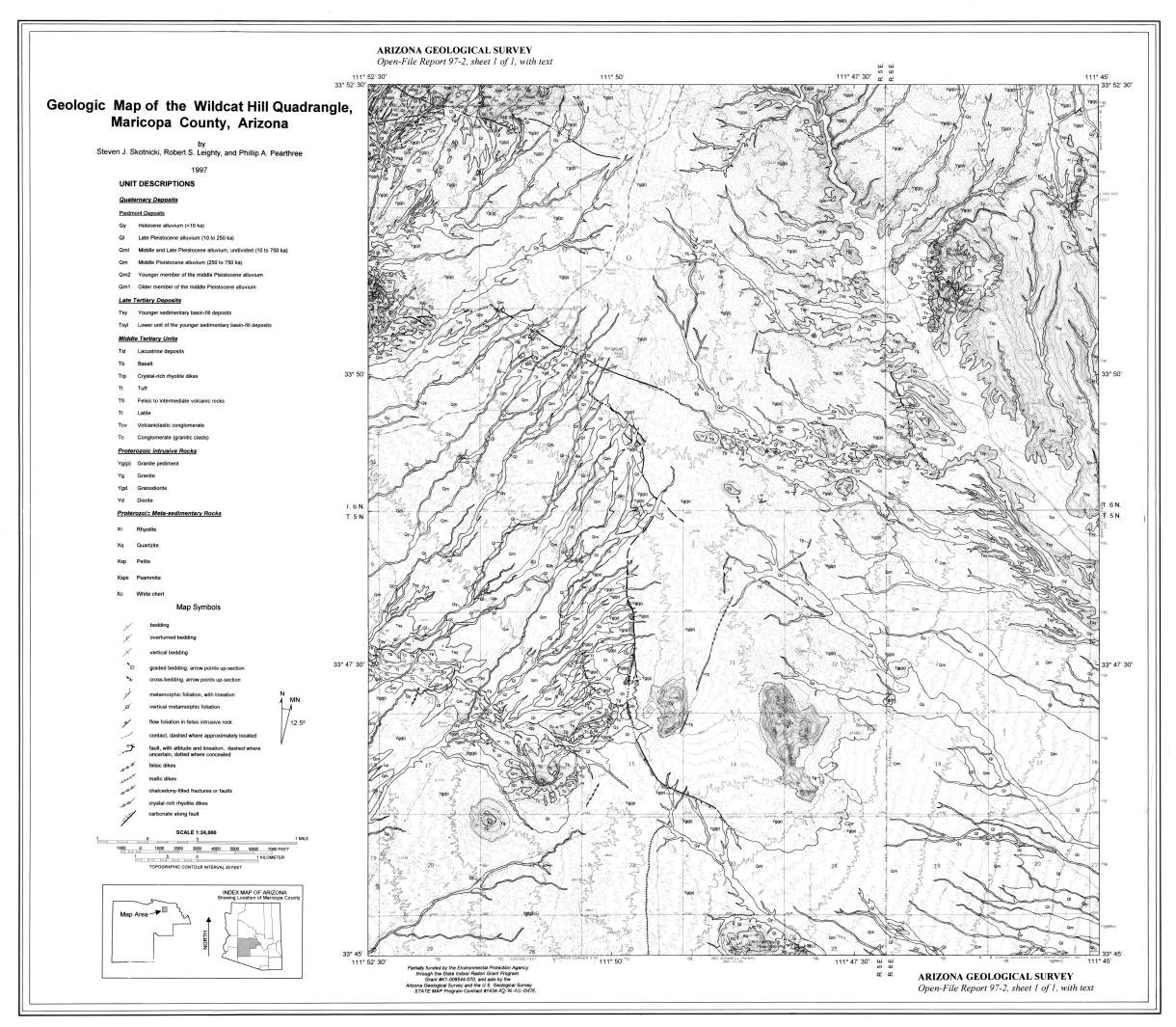Thumbnail image of document cover: Geologic Map of the Wildcat Hill Quadrangle, Maricopa County, Arizona