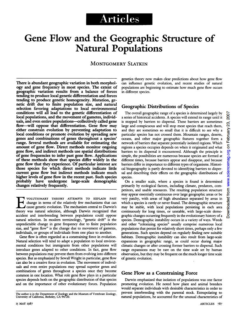 Thumbnail image of document cover: Gene Flow and the Geographic Structure of Natural Populations