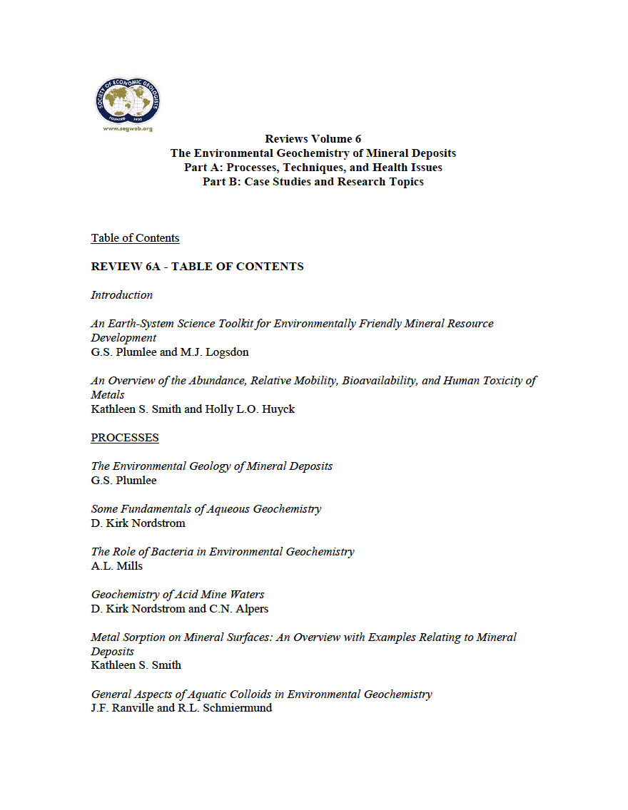 Thumbnail image of document cover: An Overview of the Abundance, Relative Mobility, Bioavailability, and Human Toxicity of Metals