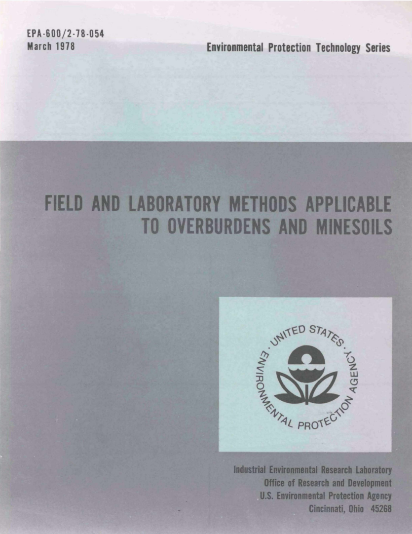 Thumbnail image of document cover: Field and Laboratory Methods Applicable to Overburden and Mine Soils