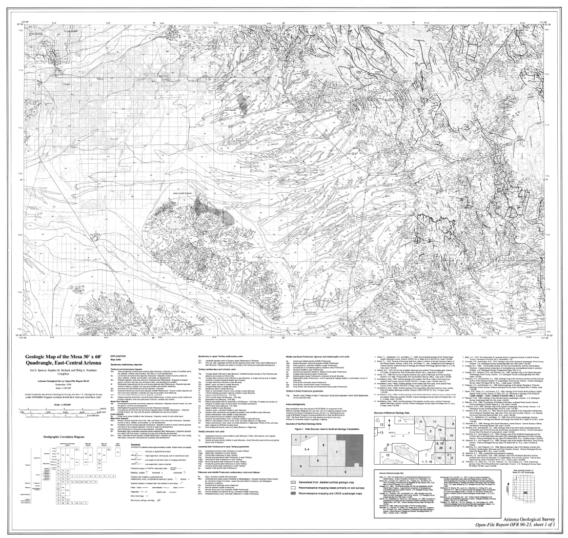 Thumbnail image of document cover: Geologic Map of the Mesa 30' x 60' Quadrangle, East-Central Arizona