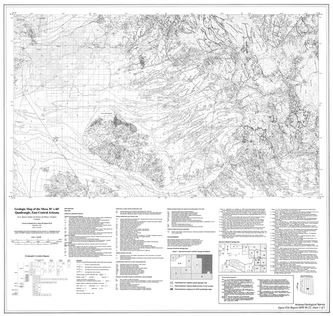 Thumbnail image of document cover: Geologic Map of the Mesa 30' x 60' Quadrangle, Arizona