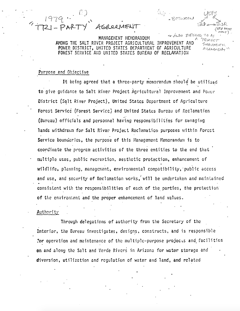 Thumbnail image of document cover: Management Memorandum Among the Salt River Project Agricultural Improvement and Power District, United States Department of Agriculture, Forest Service and United States Bureau of Reclamation