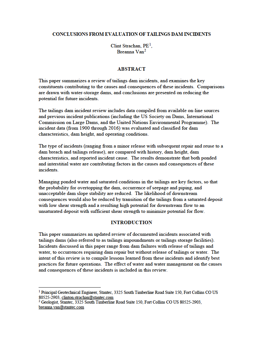 Thumbnail image of document cover: Conclusions from Evaluation of Tailings Dam Incidents