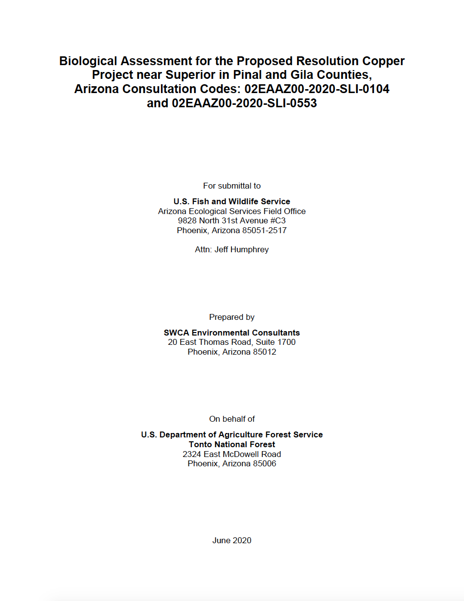 Thumbnail image of document cover: Biological Assessment for the Proposed Resolution Copper Project near Superior in Pinal and Gila Counties, Arizona Consultation Codes: 02EAAZ00-2020-SLI-0104 and 02EAAZ00-2020-SLI-0553