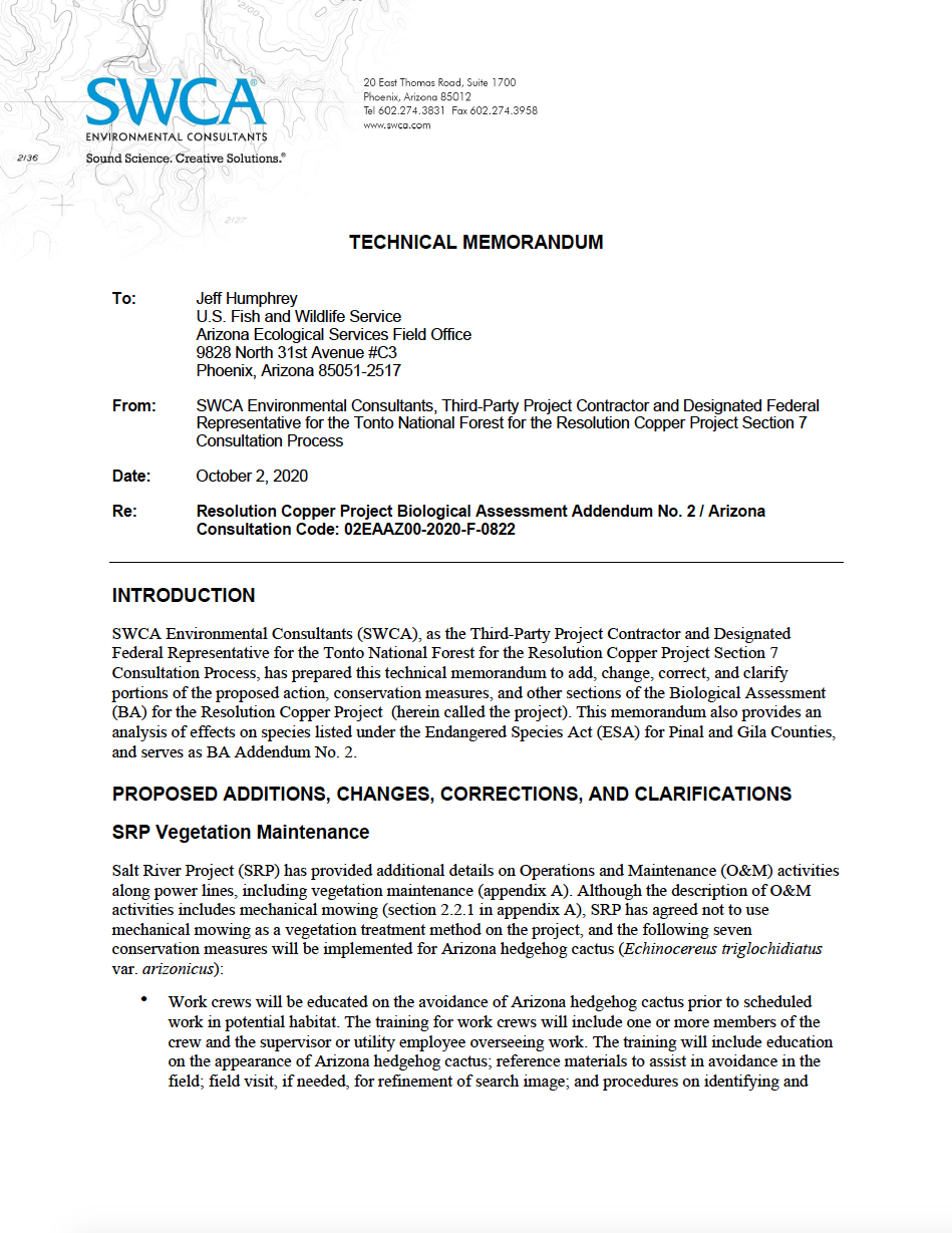 Thumbnail image of document cover: Resolution Copper Project Biological Assessment Addendum No. 2 / Arizona Consultation Code: 02EAAZ00-2020-F-0822