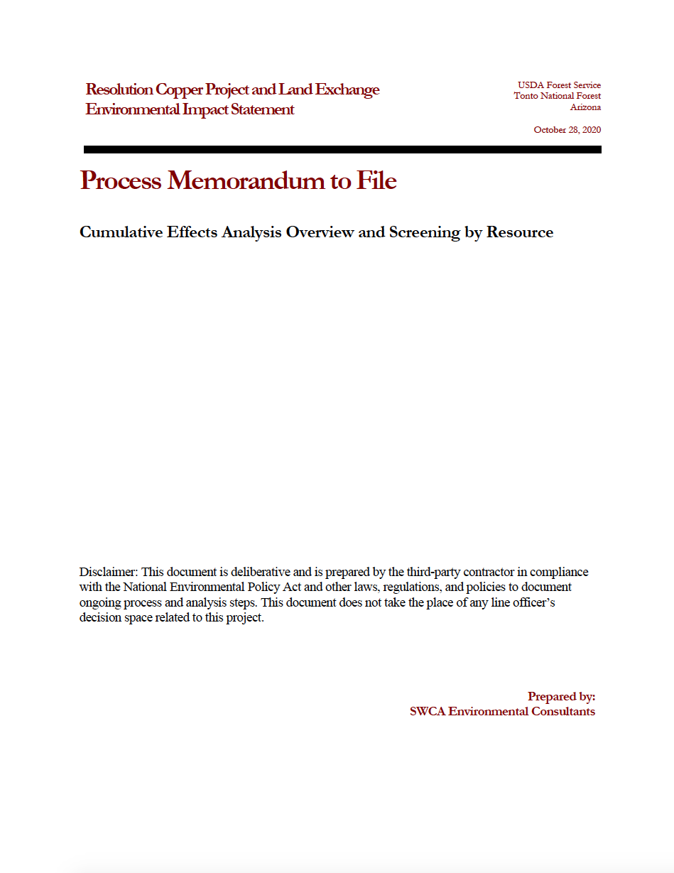 Thumbnail image of document cover: Cumulative Effects Analysis Overview and Screening by Resource