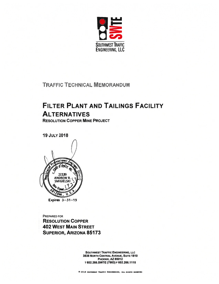 Thumbnail image of document cover: Filter Plant and Tailings Facility Alternatives