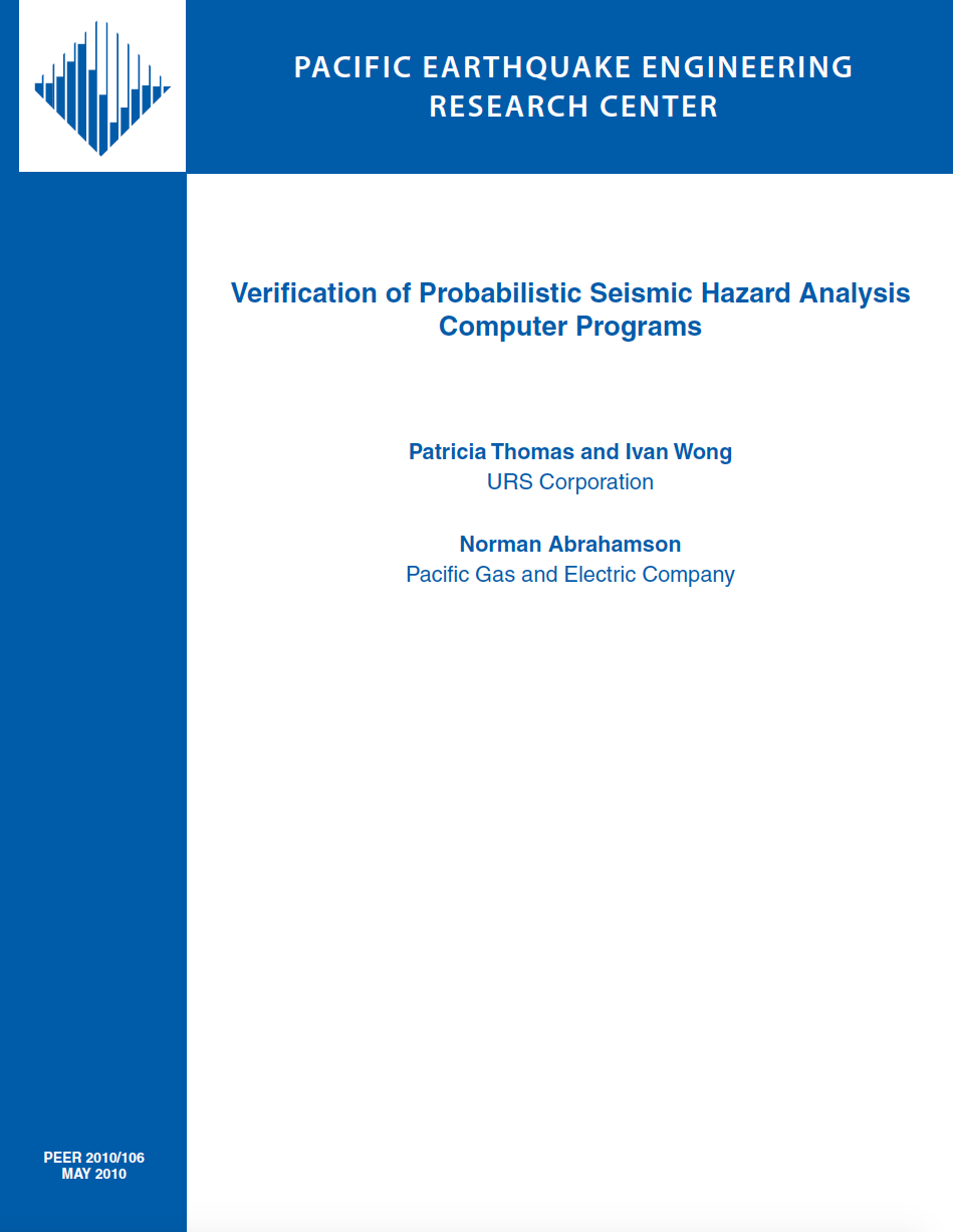 Thumbnail image of document cover: Verification of Probabilistic Seismic Hazard Analysis Computer Programs