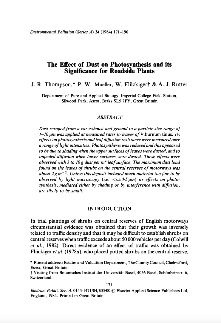 Thumbnail image of document cover: The Effect of Dust on Photosynthesis and its Significance for Roadside Plants