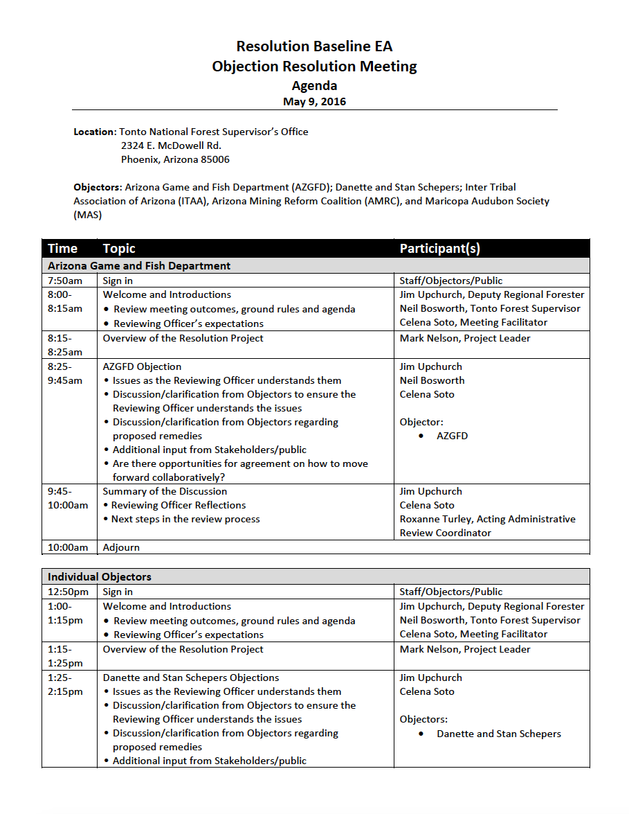 Thumbnail image of document cover: Resolution Baseline EA Objection Resolution Meeting Agenda