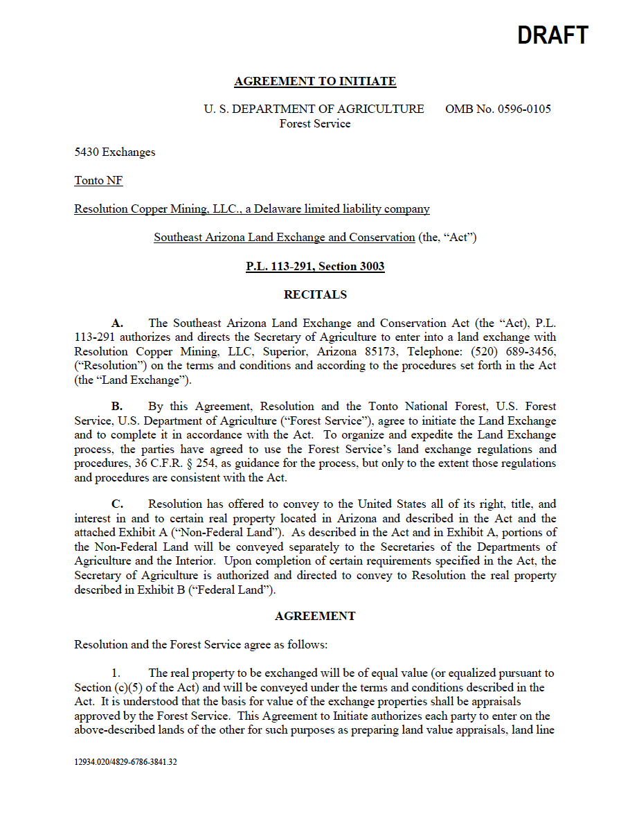 Thumbnail image of document cover: DRAFT Agreement to Initiate Land Exchange