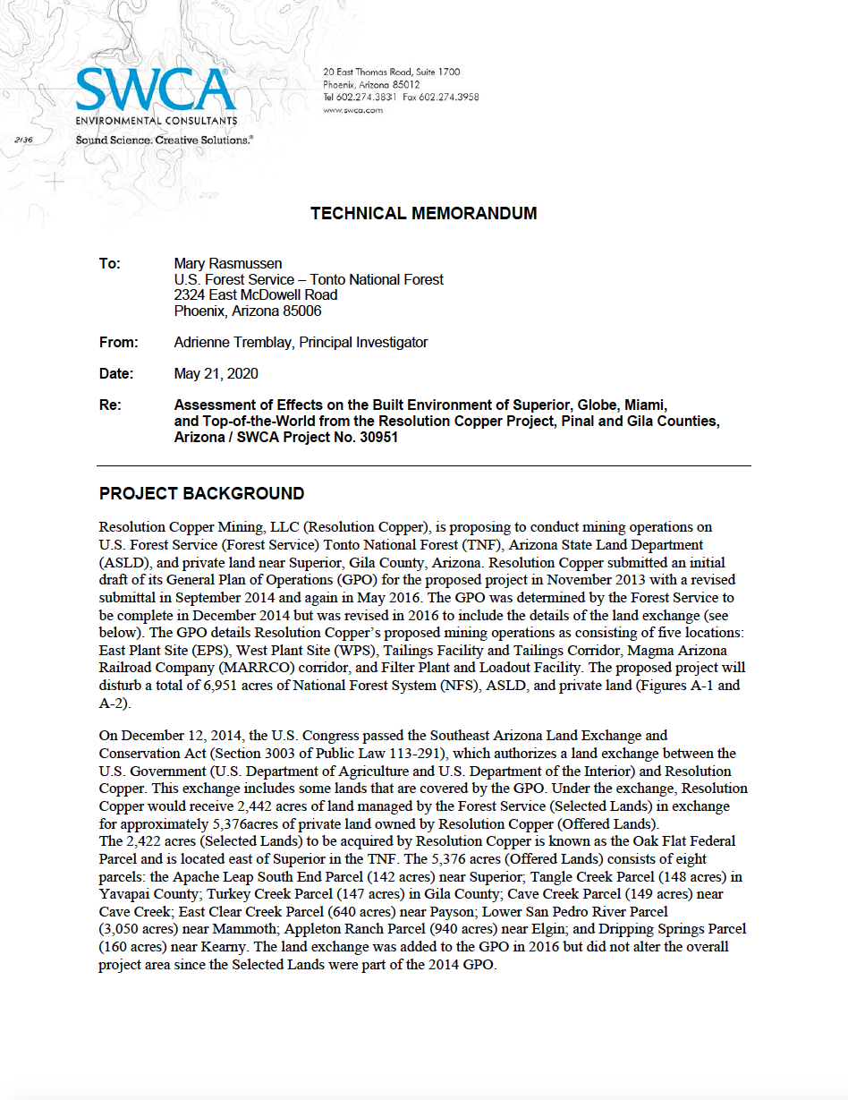 Thumbnail image of document cover: Assessment of Effects on the Built Environment of Superior, Globe, Miami, and Top-of-the-World from the Resolution Copper Project, Pinal and Gila Counties, Arizona