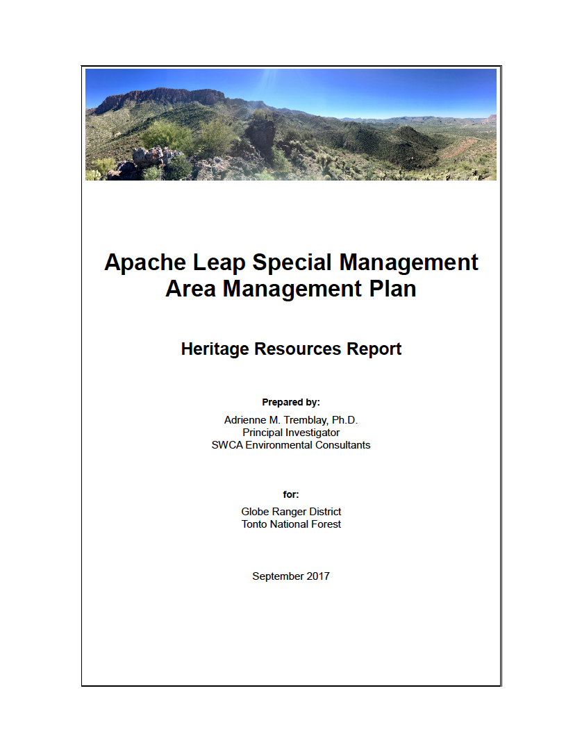 Thumbnail image of document cover: Apache Leap Special Management Area Management Plan: Heritage Resources Report