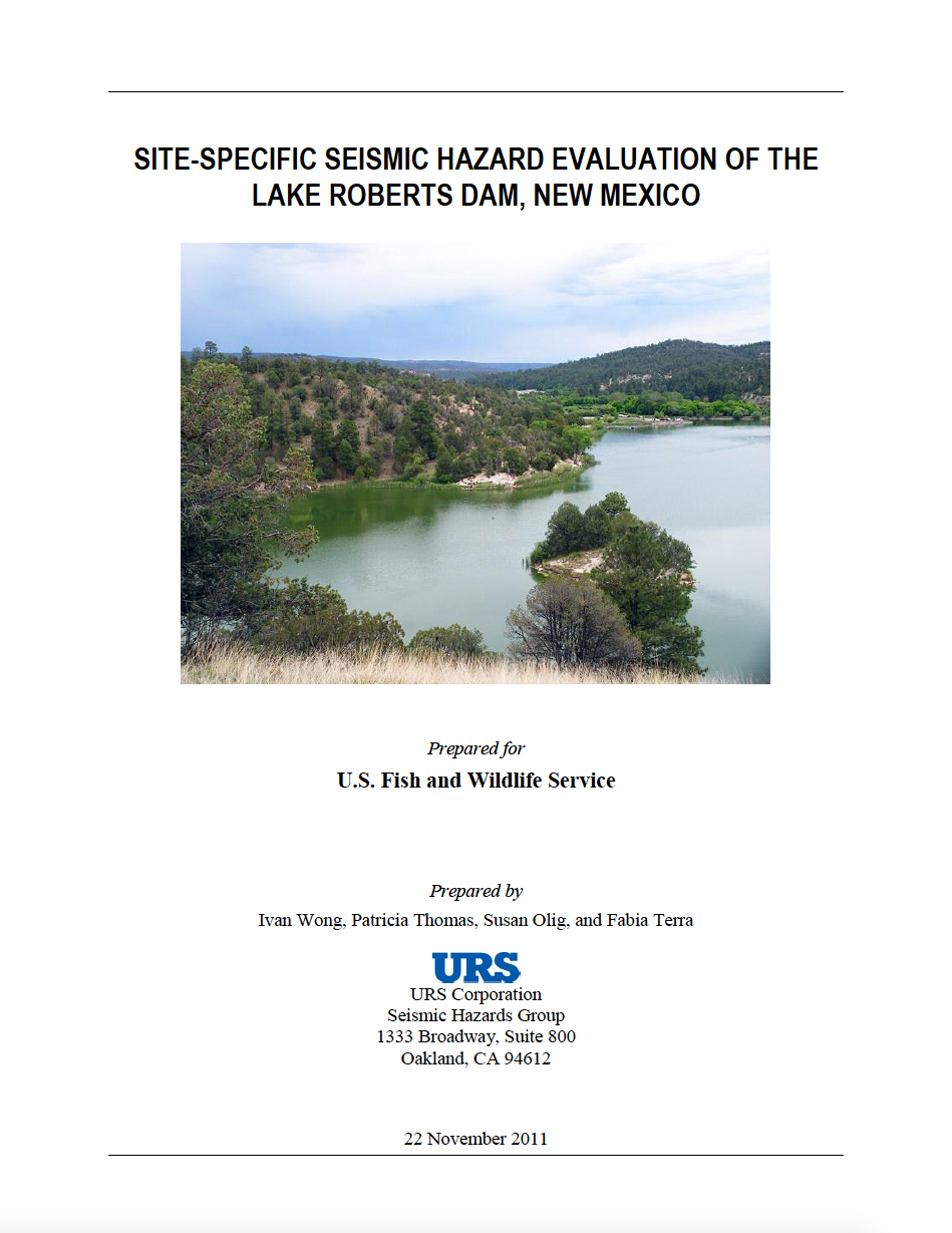 Thumbnail image of document cover: Site-Specific Seismic Hazard Evaluation of the Lake Roberts Dam, New Mexico