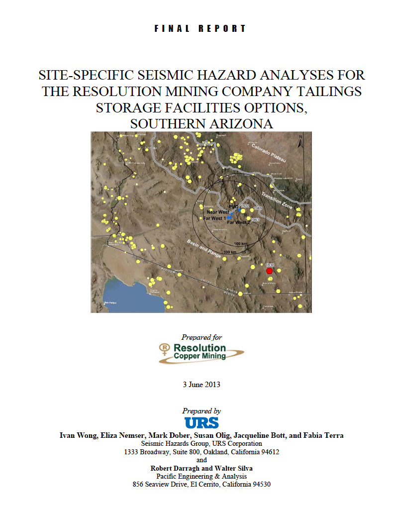 Thumbnail image of document cover: Site-Specific Seismic Hazard Analyses for the Resolution Mining Company Tailings Storage Facilities Options, Southern Arizona