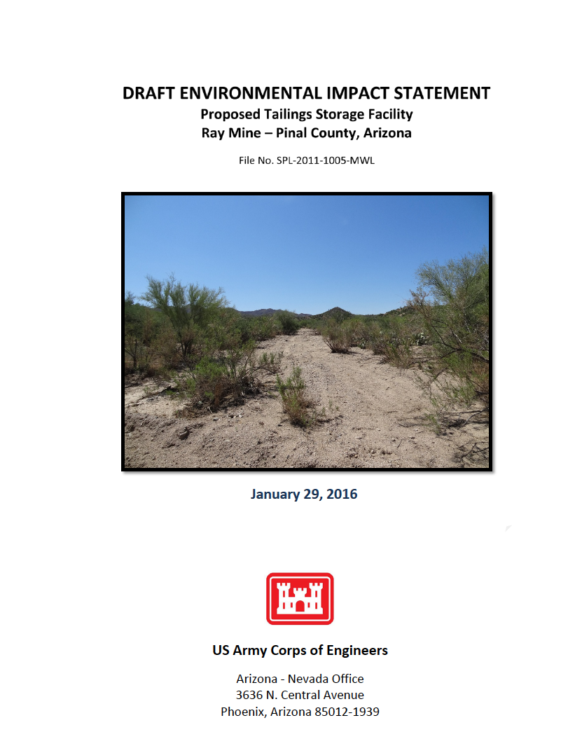 Thumbnail image of document cover: Draft Environmental Impact Statement, Proposed Tailings Storage Facility, Ray Mine - Pinal County, Arizona