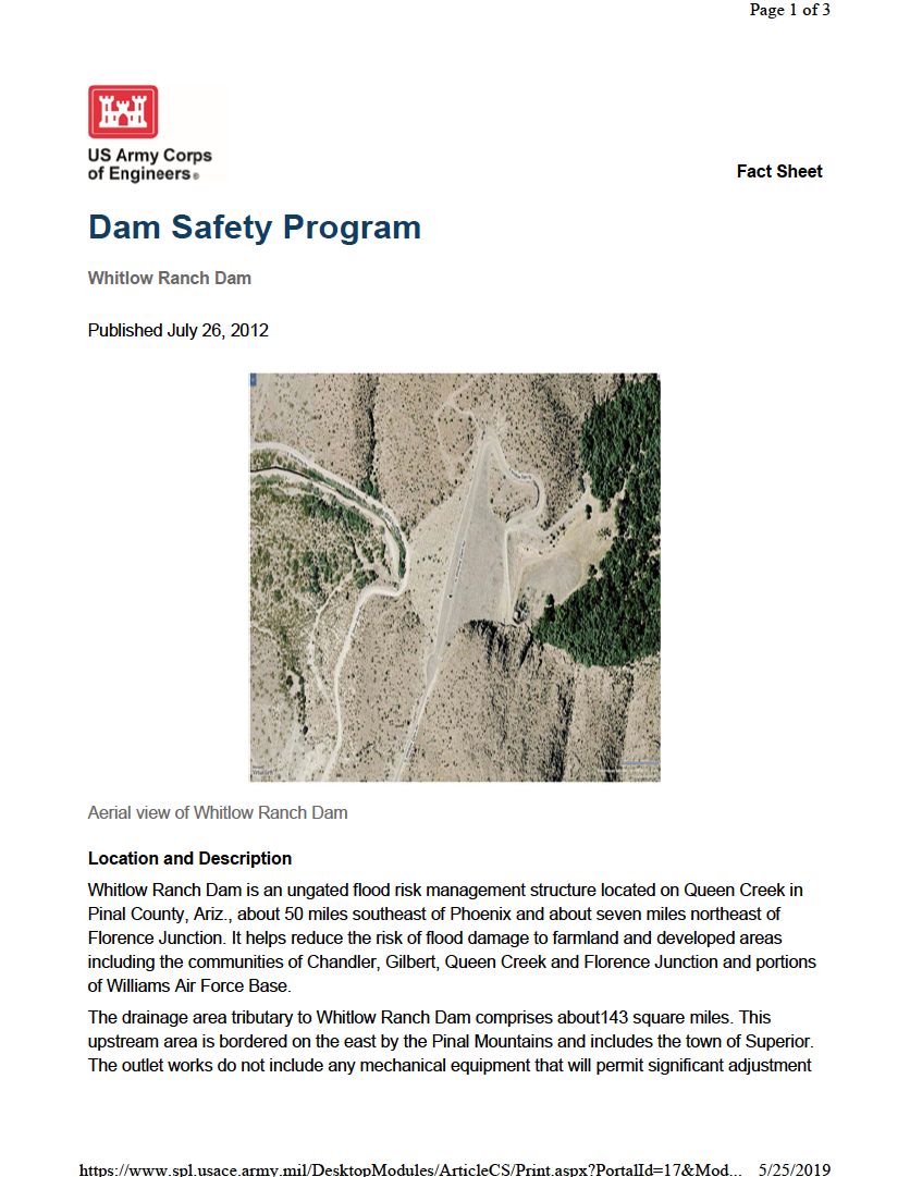 Thumbnail image of document cover: Dam Safety Program: Whitlow Ranch Dam
