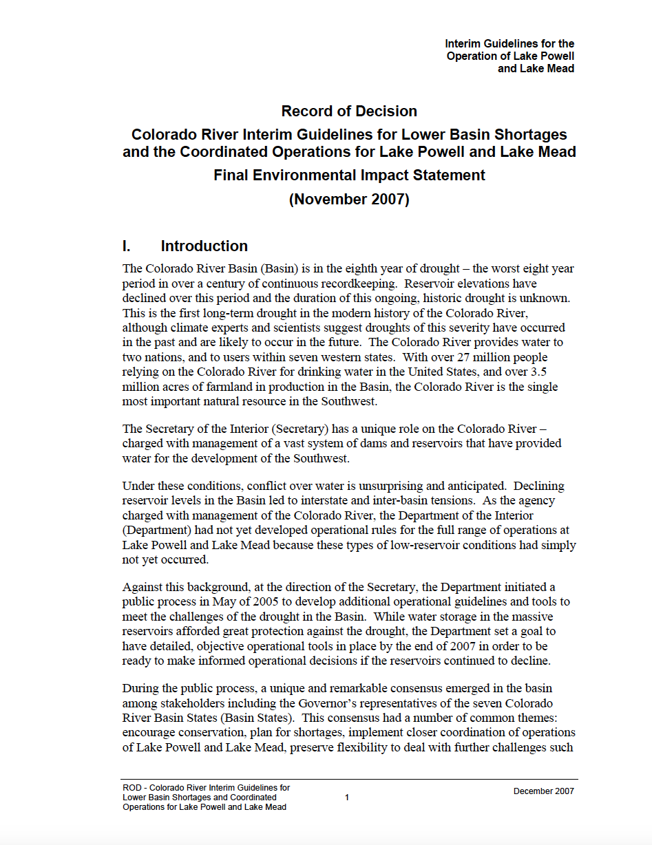 Thumbnail image of document cover: Record of Decision: Colorado River Interim Guidelines for Lower Basin Shortages and Coordinated Operations for Lake Powell and Lake Mead: Final Environmental Impact Statement