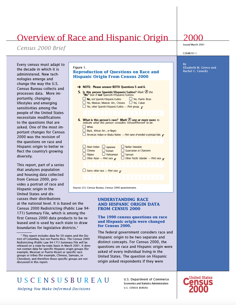 Thumbnail image of document cover: Overview of Race and Hispanic Origin