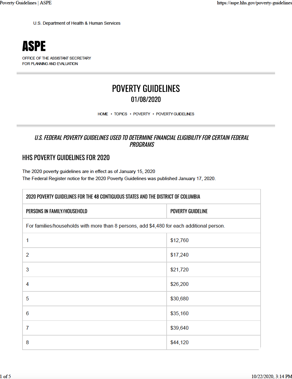 Thumbnail image of document cover: HHS Poverty Guidelines for 2020