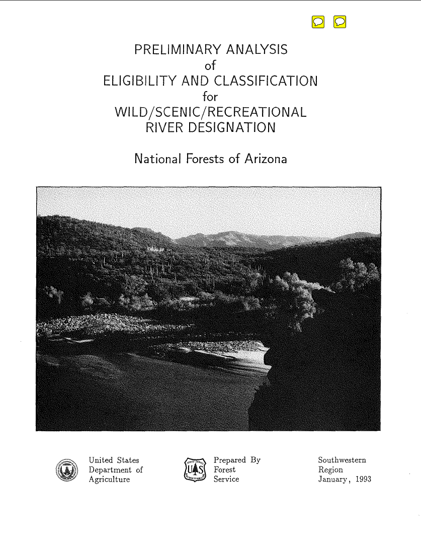 Thumbnail image of document cover: Preliminary Analysis of Eligibility and Classification for Wild/Scenic/Recreational River Designation: National Forest of Arizona