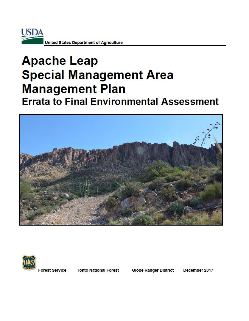 Thumbnail image of document cover: Apache Leap Special Management Area Management Plan: Errata to Final Environmental Assessment