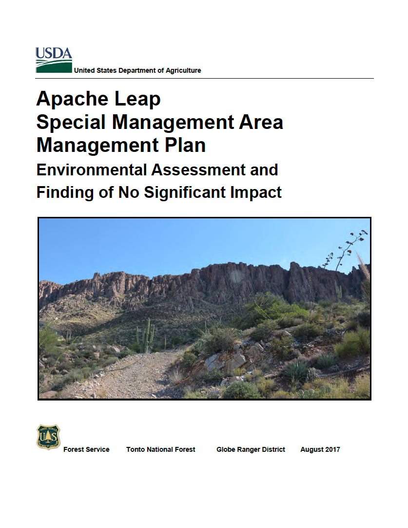 Thumbnail image of document cover: Apache Leap Special Management Area Management Plan: Environmental Assessment and Finding of No Significant Impact