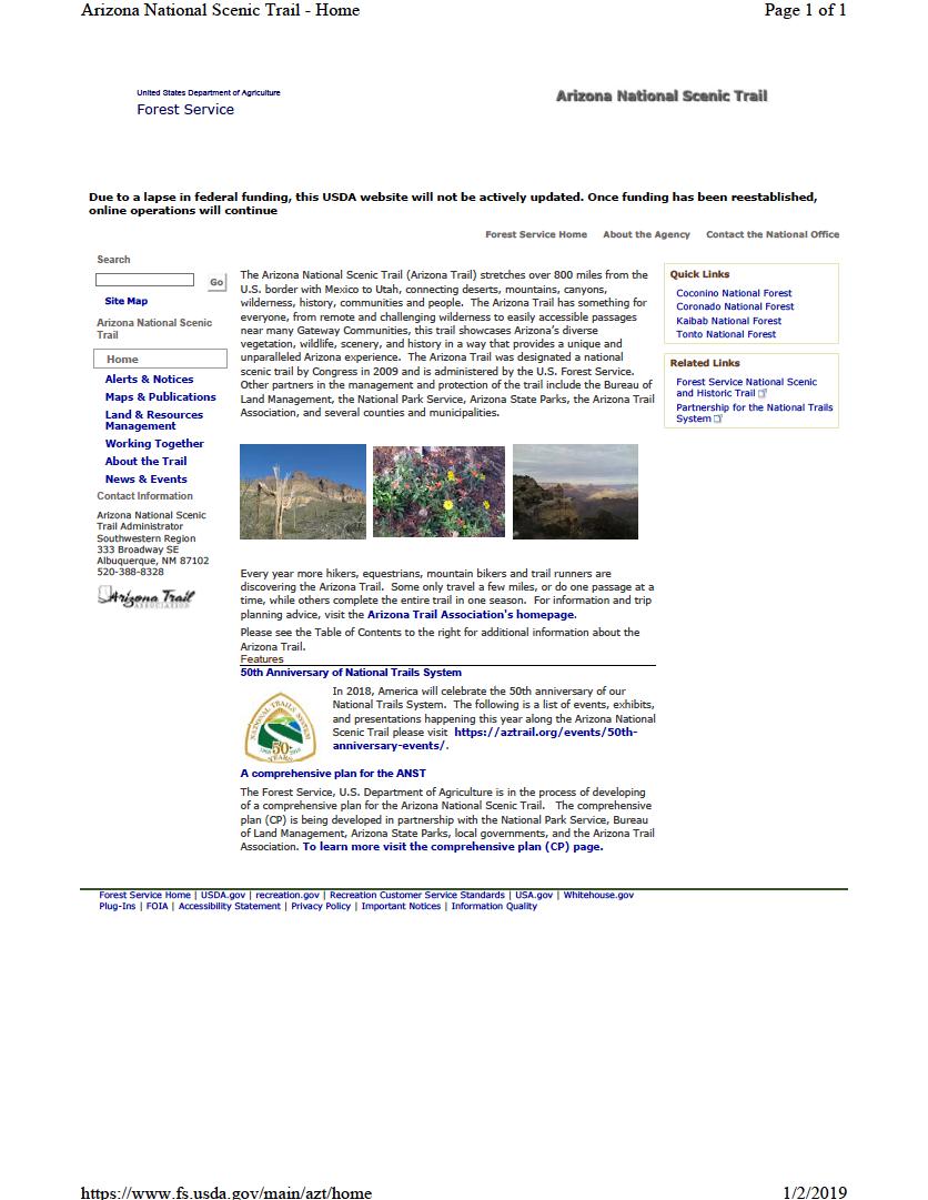 Thumbnail image of document cover: Arizona National Scenic Trail