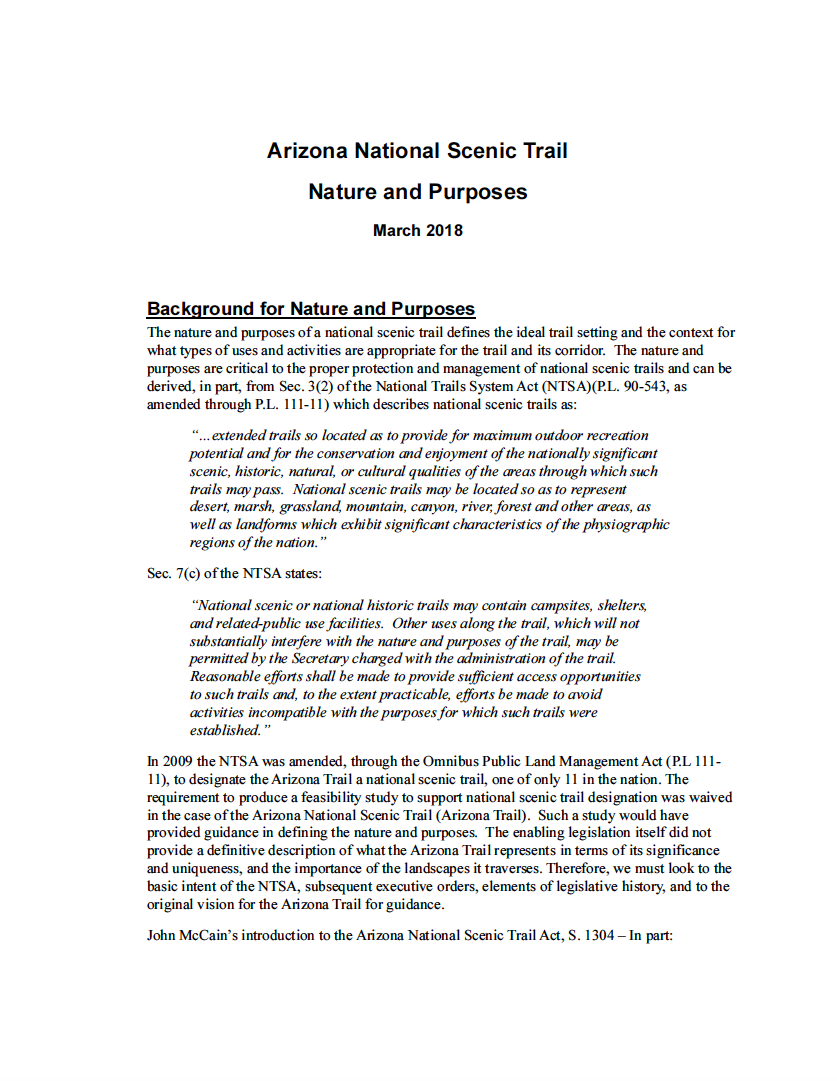 Thumbnail image of document cover: Arizona National Scenic Trail Nature and Purposes