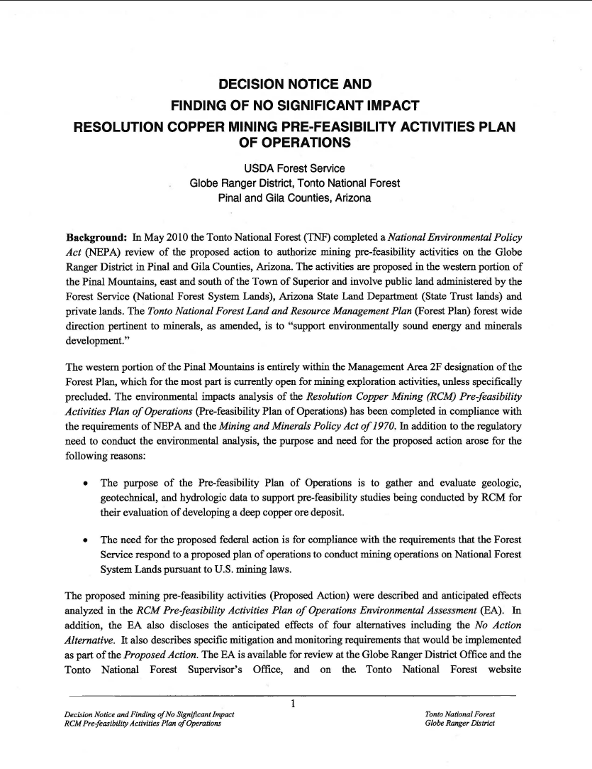 Thumbnail image of document cover: Decision Notice and Finding of No Significant Impact Resolution Copper Mining Pre-Feasibility Activities Plan of Operations [FONSI]