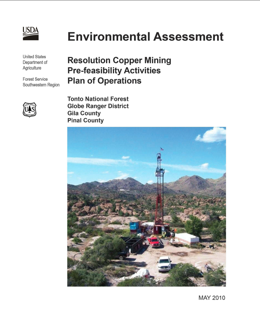 Thumbnail image of document cover: Environmental Assessment Resolution Copper Mining, Pre-feasibility Activities, Plan of Operations