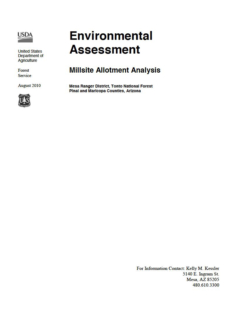 Thumbnail image of document cover: Environmental Assessment: Millsite Allotment Analysis
