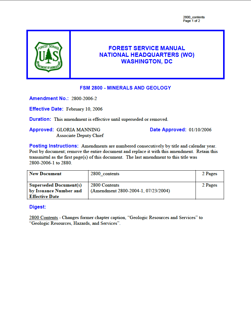 Thumbnail image of document cover: Forest Service Manual 2800 - Minerals and Geology