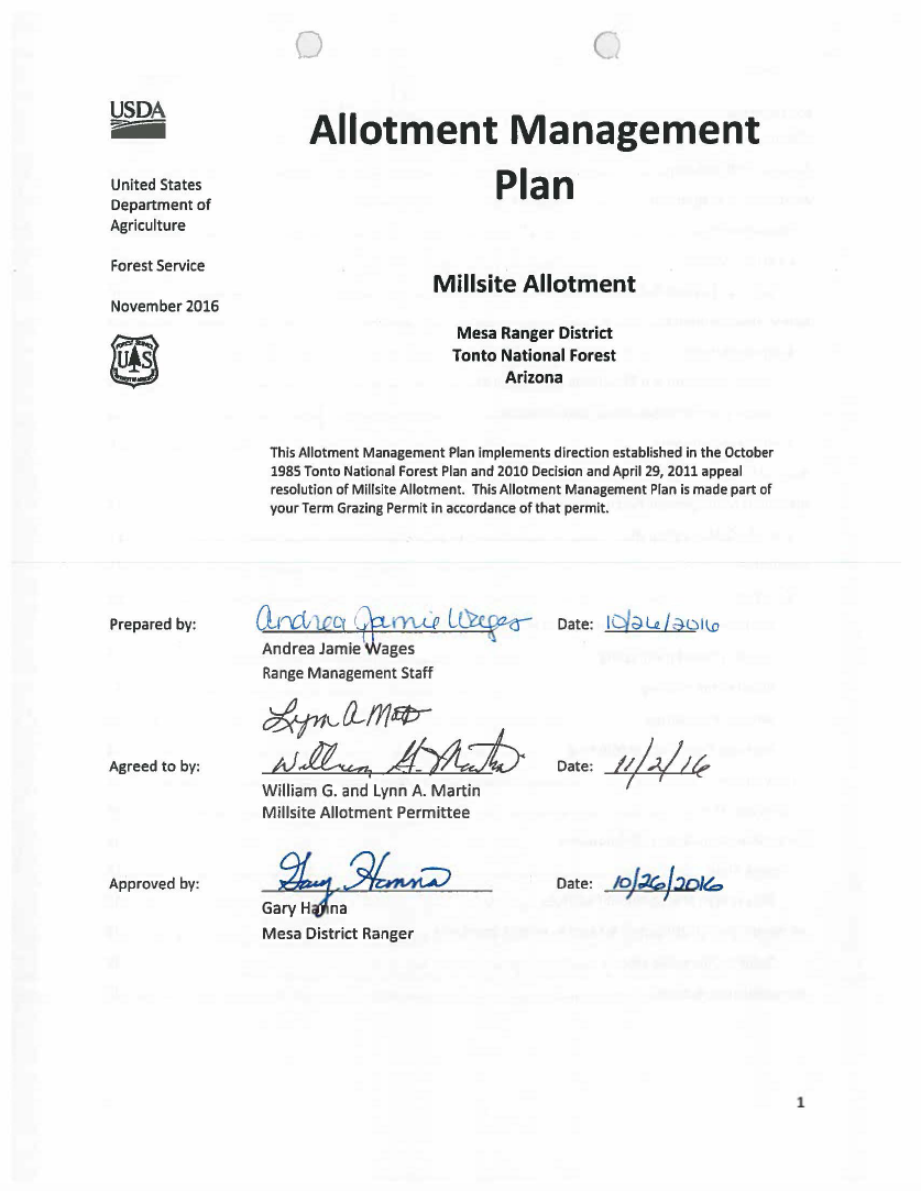Thumbnail image of document cover: Millsite Allotment Management Plan
