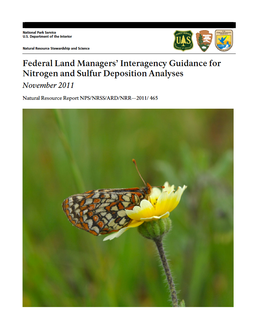 Thumbnail image of document cover: Federal Land Managers' Interagency Guidance for Nitrogen and Sulfur Deposition Analyses