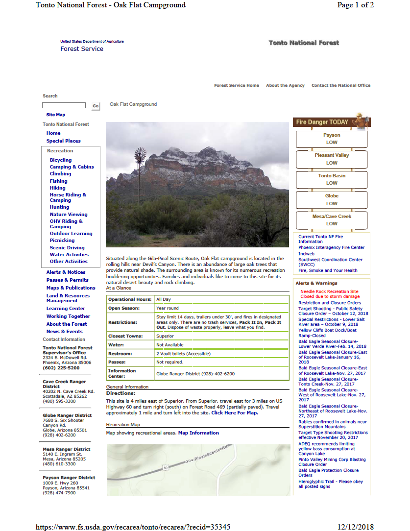 Thumbnail image of document cover: Oak Flat Campground