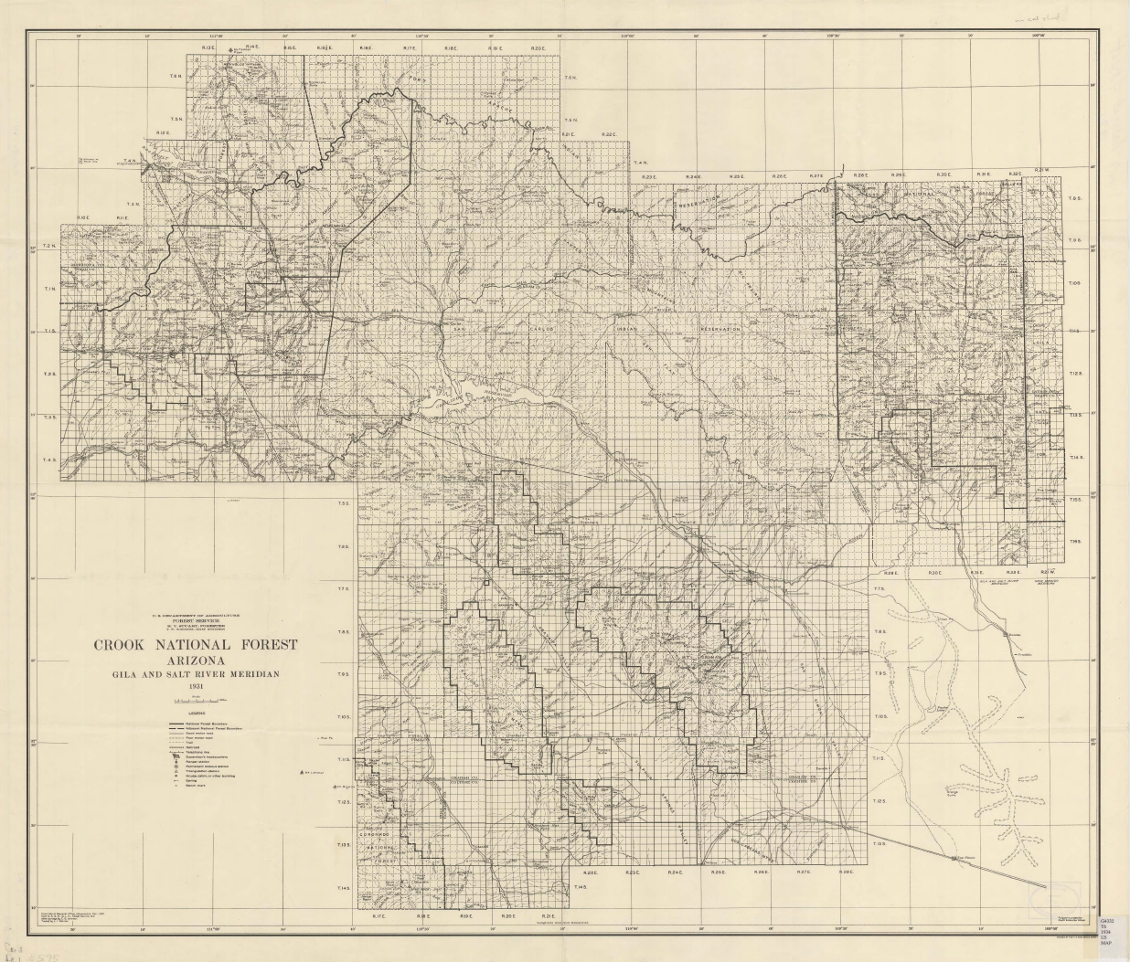 Thumbnail image of document cover: Arizona, Gila and Salt River Meridian Map