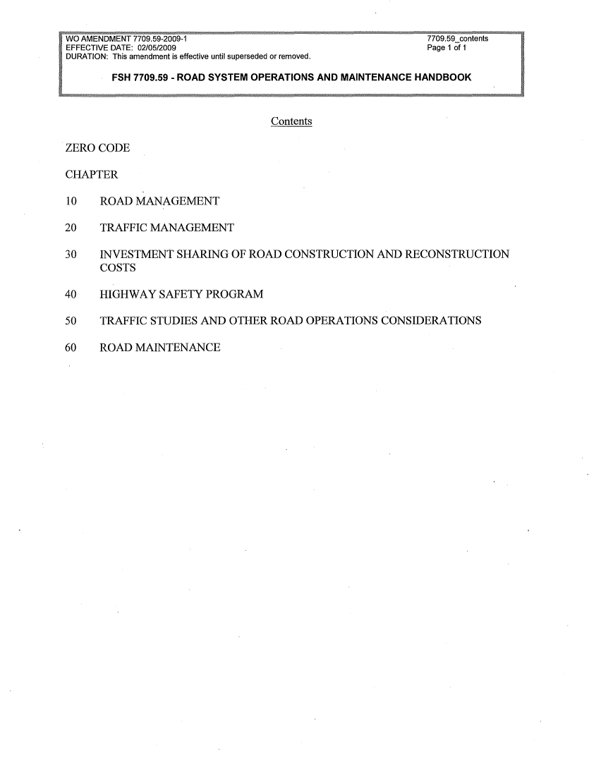Thumbnail image of document cover: FSH 7709.59 - Road System Operations and Maintenance Handbook