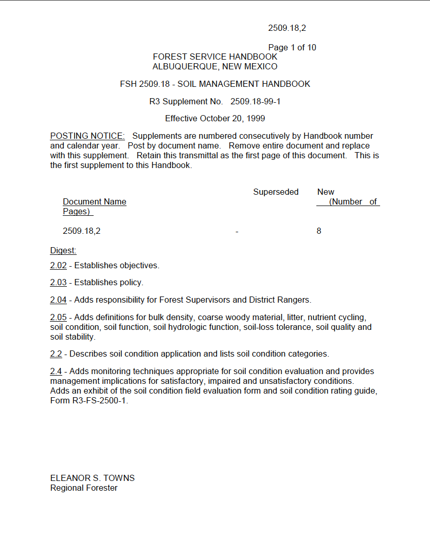 Thumbnail image of document cover: FSH 2509.18 - Soil Management Handbook