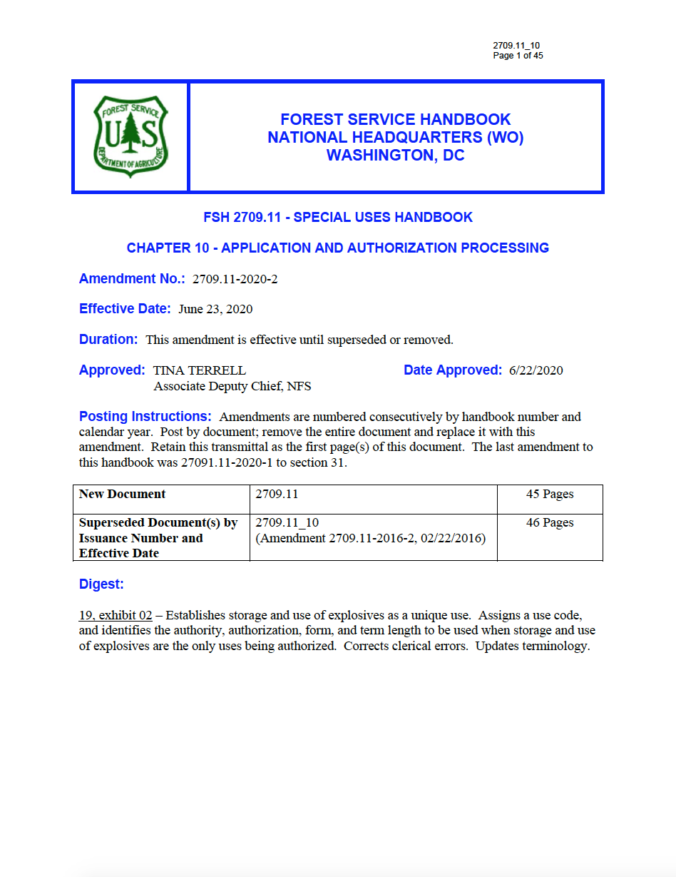 Thumbnail image of document cover: FSH 2709.11 - Special Uses Handbook