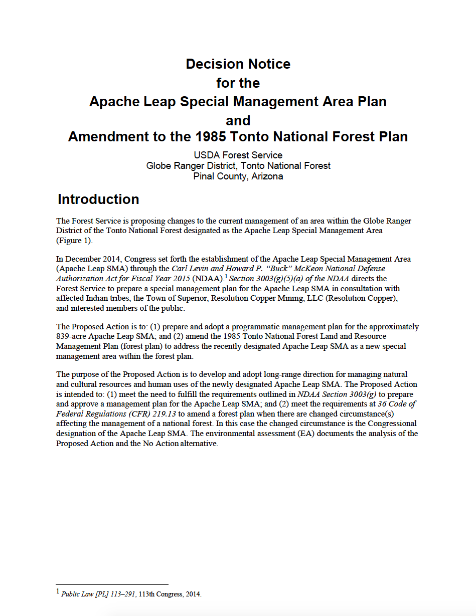 Thumbnail image of document cover: Decision Notice for the Apache Leap Special Management Area Plan and Amendment to the 1985 Tonto National Forest Plan