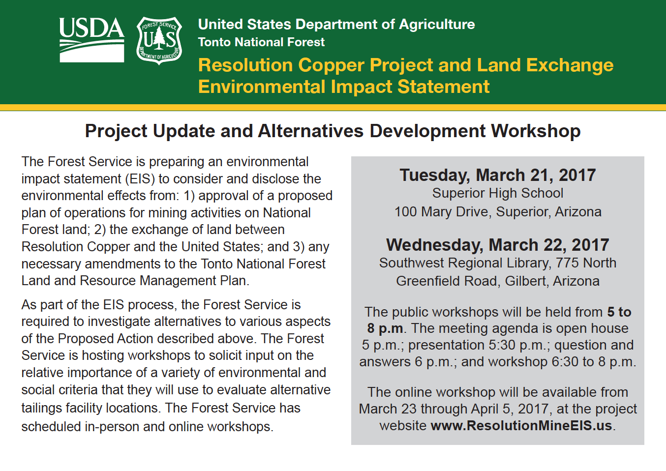 Thumbnail image of document cover: Project Update and Alternatives Development Workshop Postcard