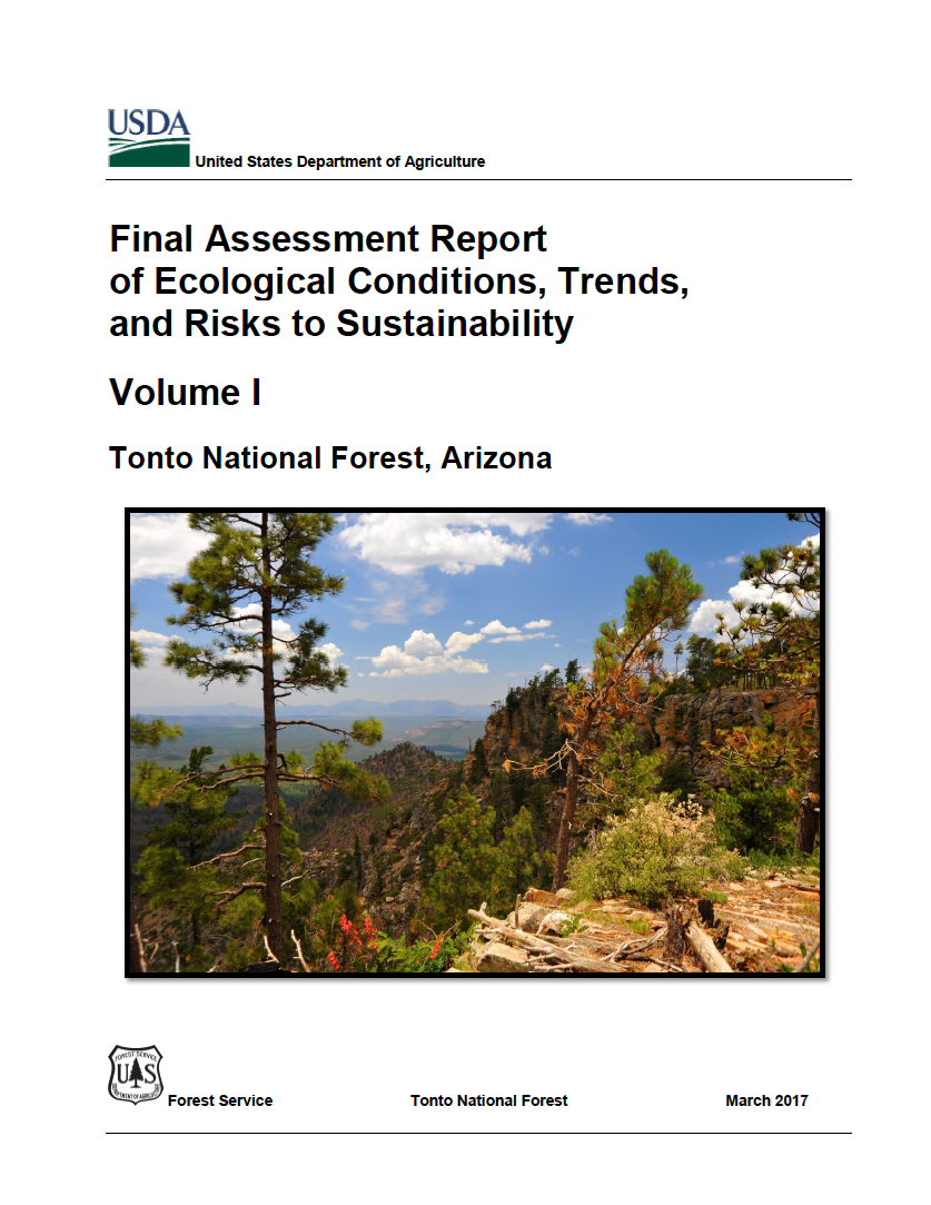 Thumbnail image of document cover: Final Assessment Report of Ecological Conditions, Trends, and Risks to Sustainability, Tonto National Forest: Volume 1