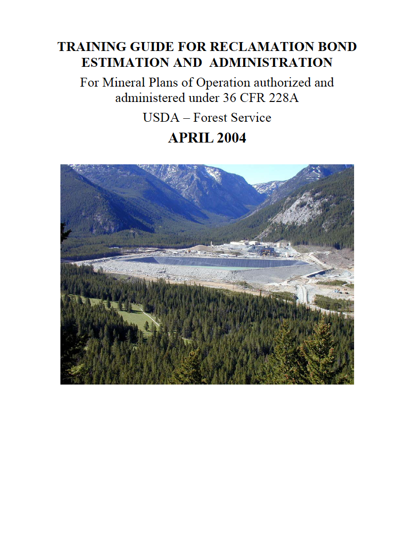 Thumbnail image of document cover: Training Guide for Reclamation, Bond Estimation, and Administration
