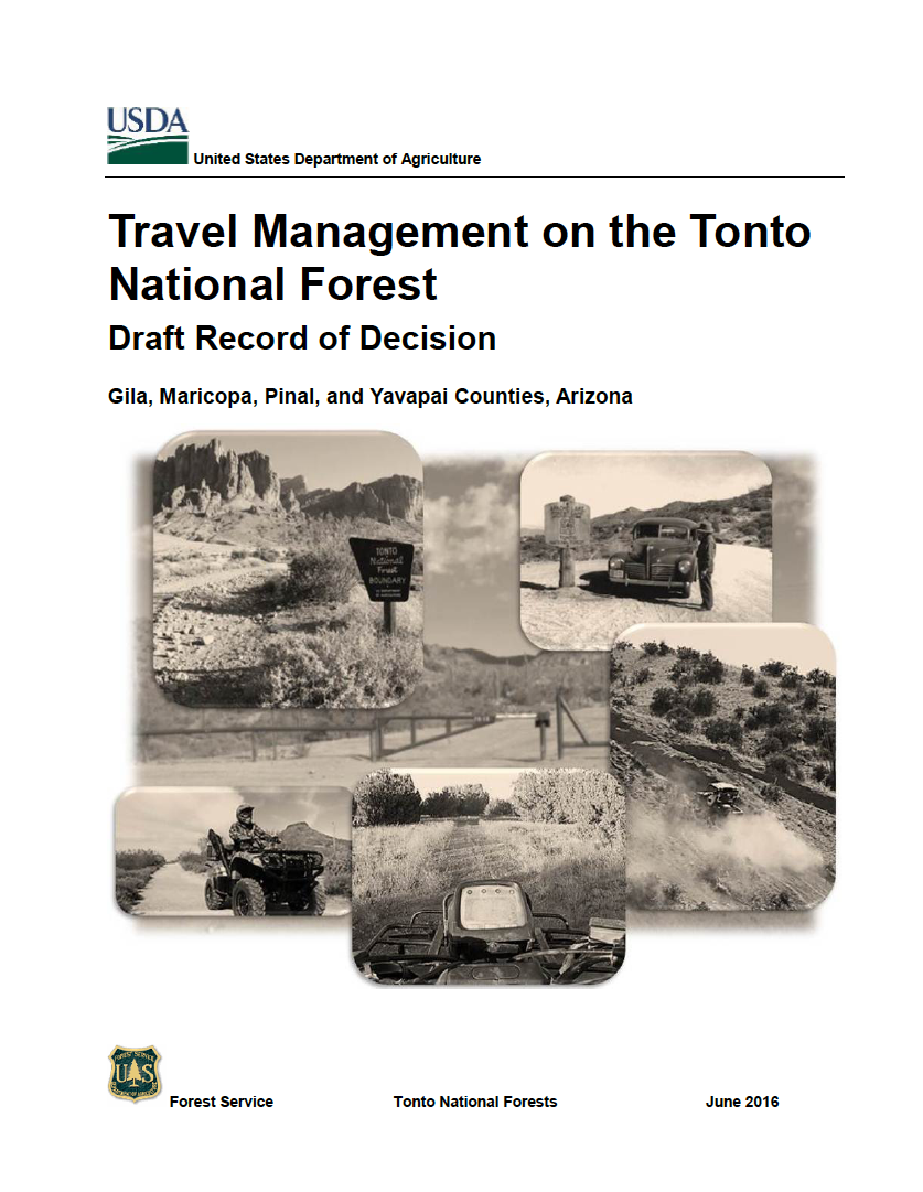 Thumbnail image of document cover: Travel Management on the Tonto National Forest: Draft Record of Decision