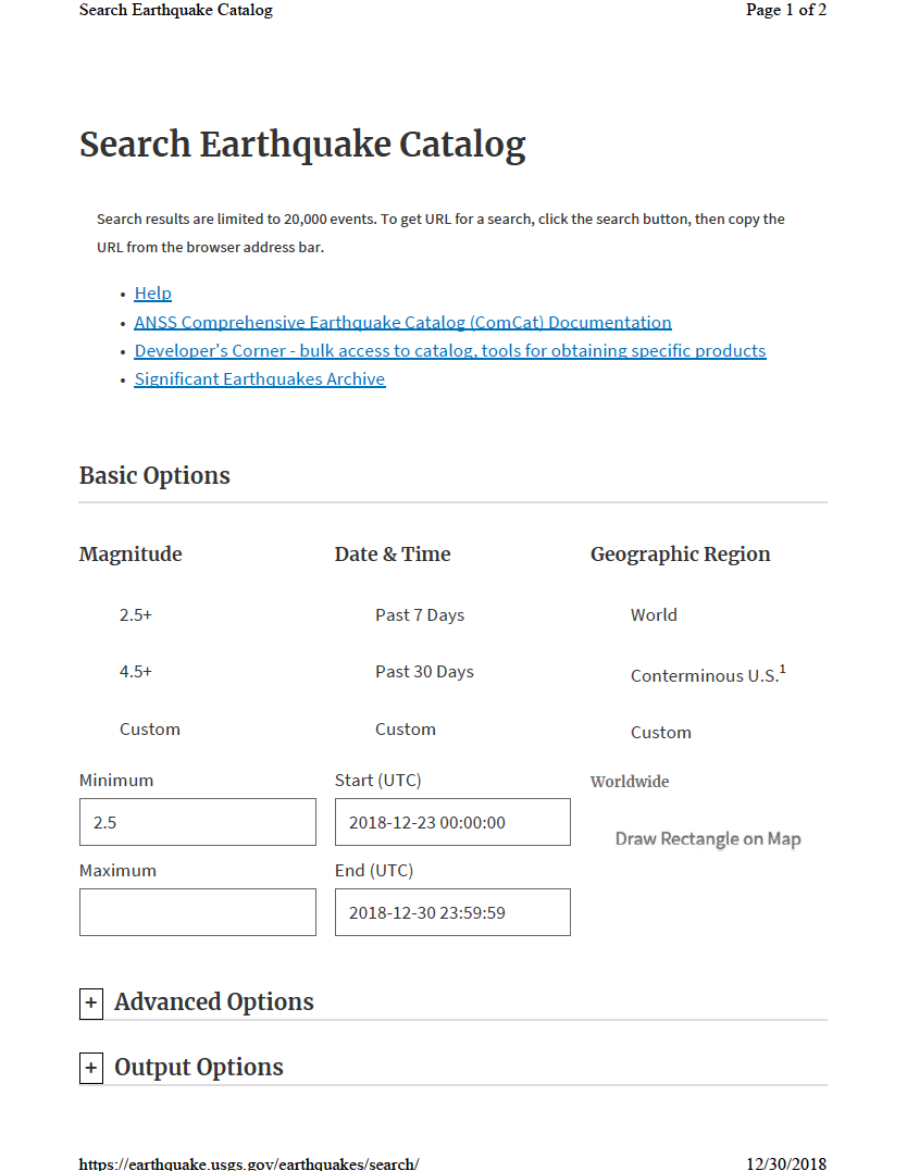 Thumbnail image of document cover: Search Earthquake Catalog