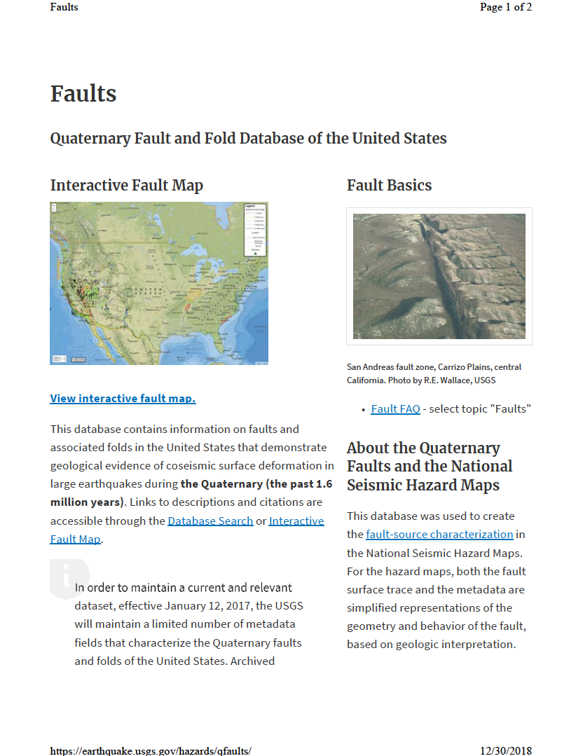 Thumbnail image of document cover: Quaternary Fault and Fold Database of the United States