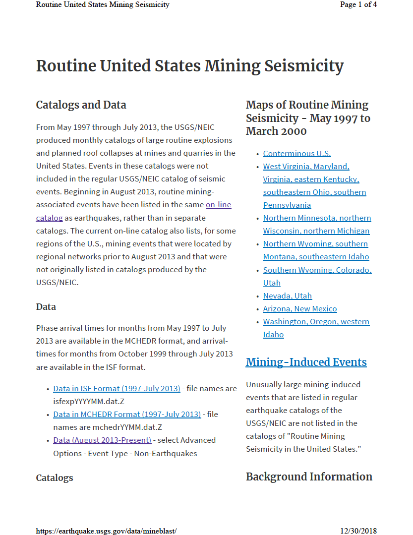 Thumbnail image of document cover: Routine United States Mining Seismicity
